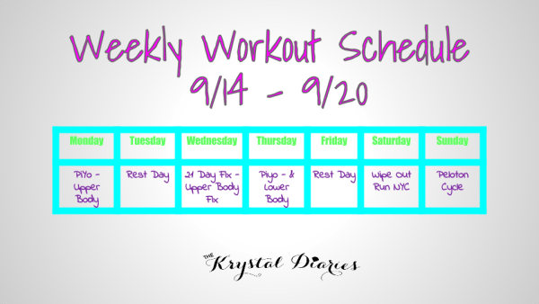 Weekly Workout Schedule 9.14.15 - 9.20.15
