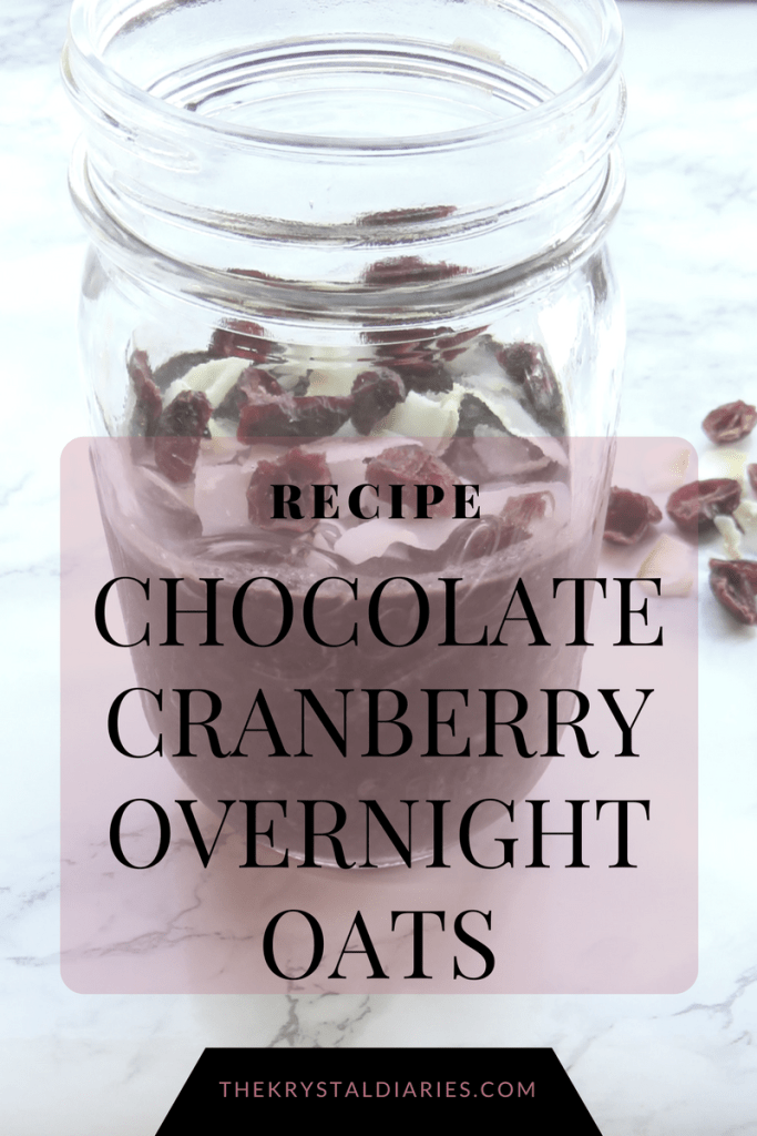 Chocolate Cranberry Overnight Oats //  The Krystal Diaries