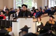 Kalamazoo College's 18th president Dr. Jorge Gonzalez delivers inaugural address to audience of students, staff, faculty, and friends in Stetson Chapel. Photo courtesy of John Lacko.