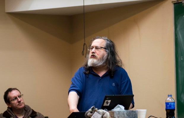 "Software freedom activist and programmer Dr. Richard Stallman holds ""Computing, Freedom, and Privacy"" lecture (Andrew Parsons / The Index)."