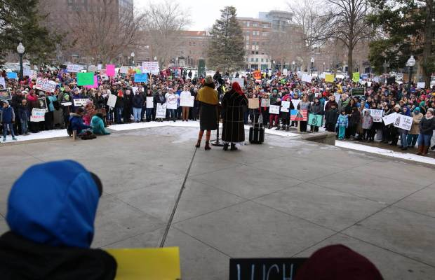 A protest against President Trump's executive order on immigration held on Saturday, February 4th, 2017 at Bronson Park [Courtesy of Joshua Place].