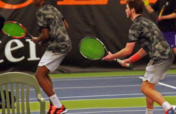 Daniel Henry (left) and Allen Vinson (right) help the Hornets with two doubles victories over Coe College. (Photo Courtesy of Chuck Stull).
