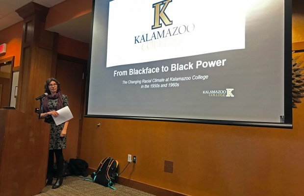 Anne Dueweke presents K's racial history (Janay Johnson / The Index).