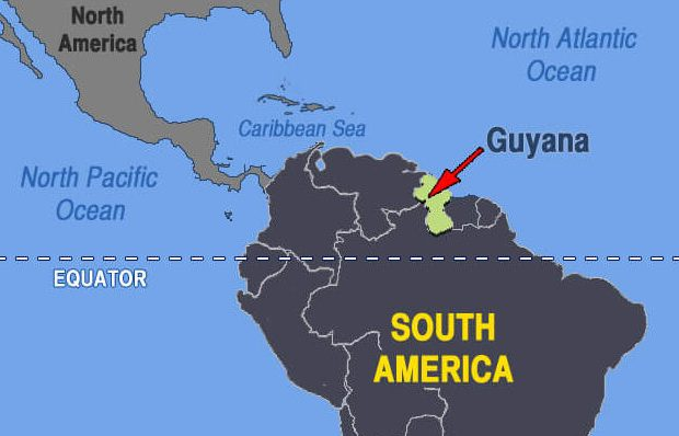 Guyana is located on the northeastern coast of South America.
