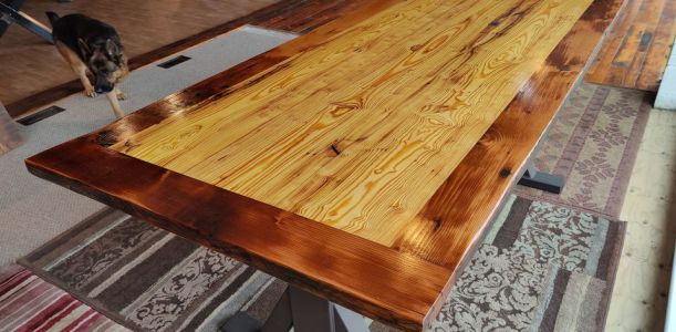 Featured Table: Hand Scraped Curly Heart Pine