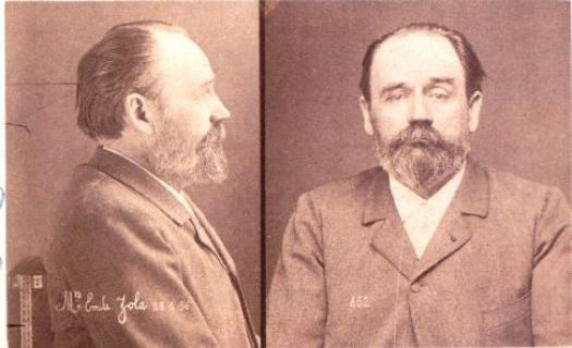 Mugshot, Emile Zola's trial during the Dreyfus Affair, 1898.
