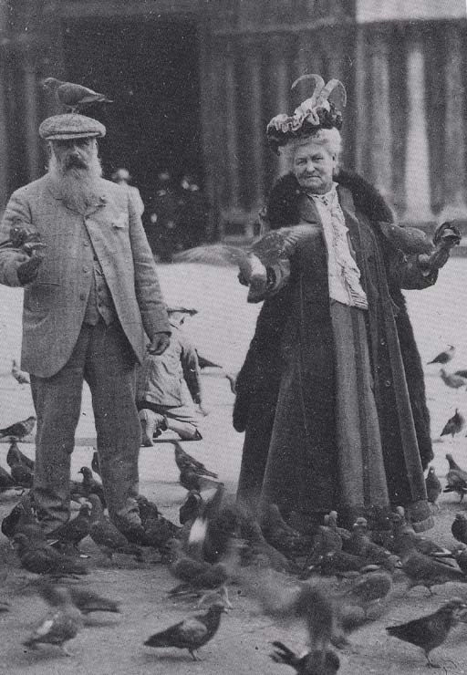 Claude and Alice feeding the pigeons!