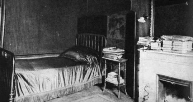 Black and white photograph of the bedroom of Marcel Proust