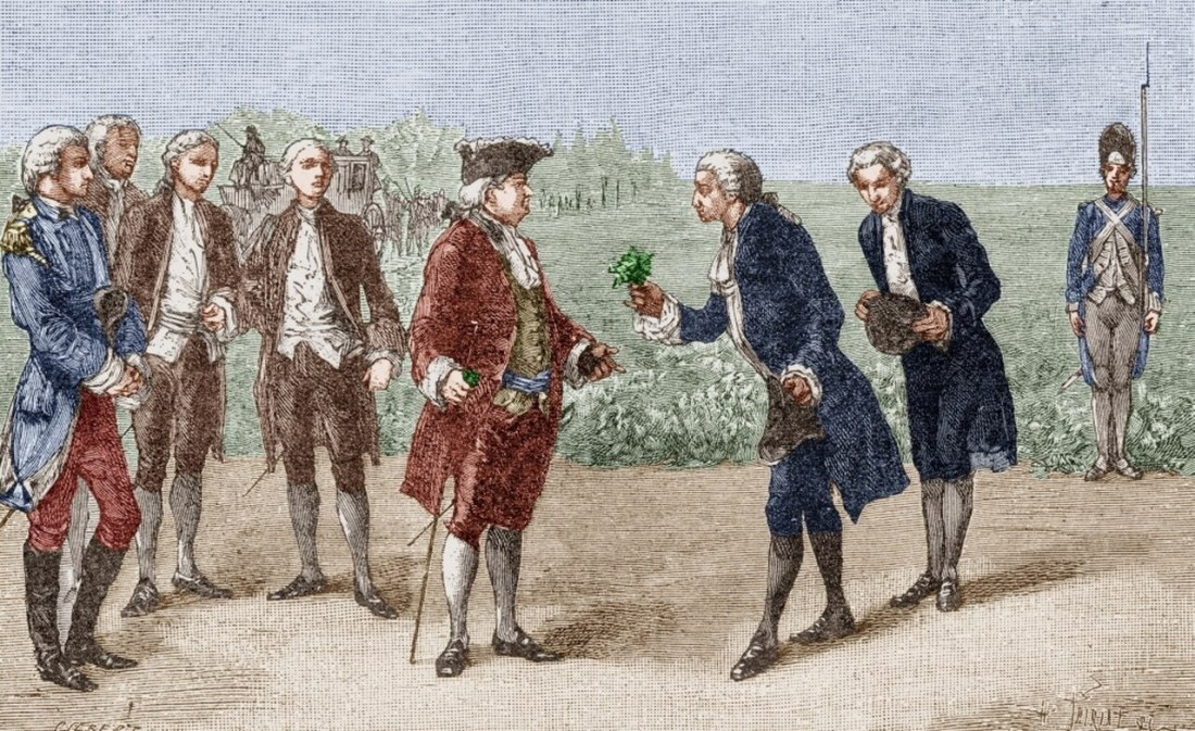 Illustration of Antoine Parmentier offering a potato blossom to King Louis XIV
