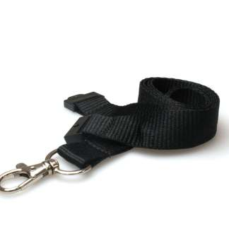 20mm Lanyard with Safety Breakaway & Trigger Clip (Black)
