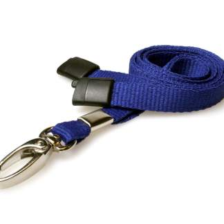 10mm Lanyard with Safety Breakaway & Metal Lobster Clip (Navy Blue)