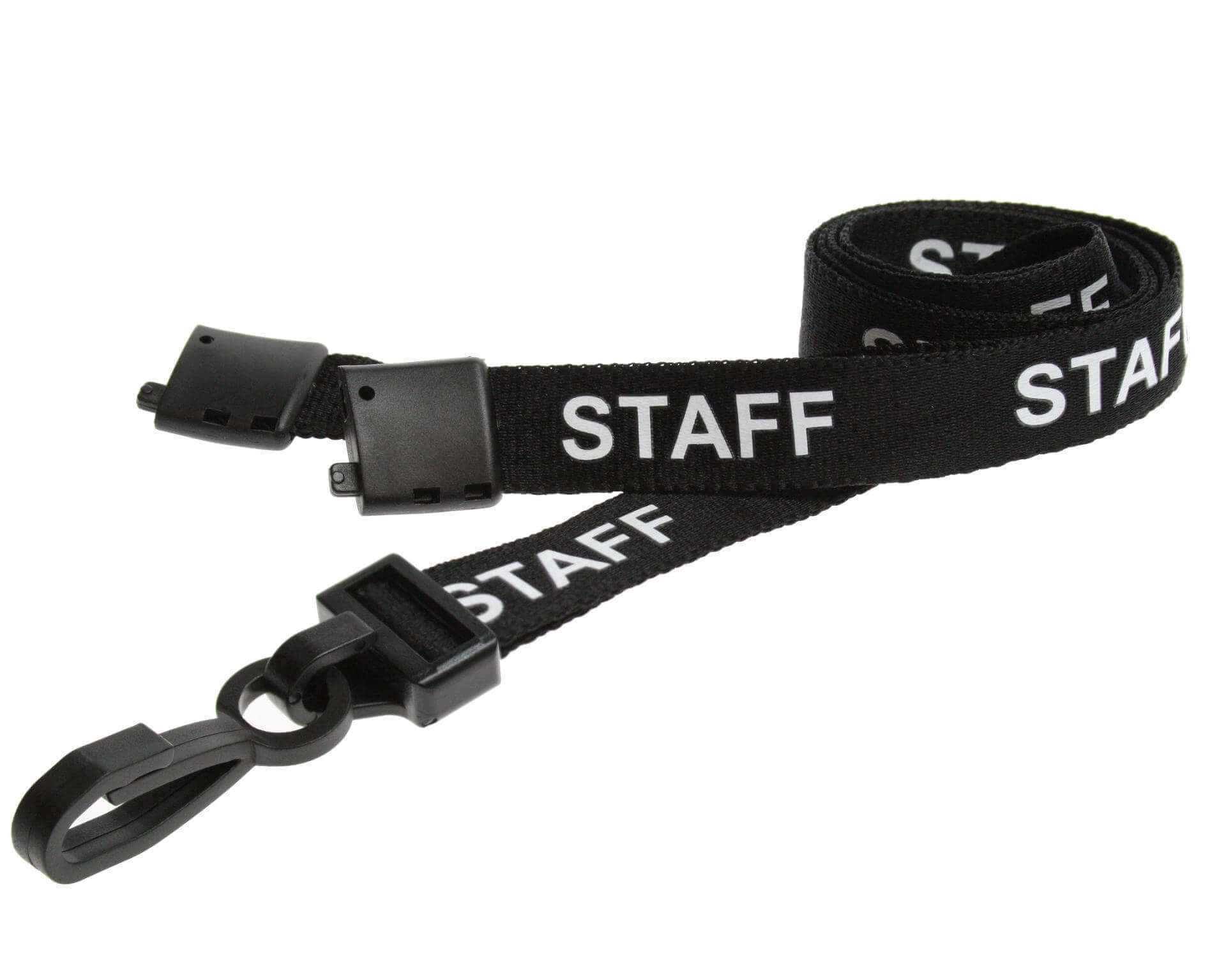 12 BLACK SECURITY LANYARDS WITH PLASTIC J CLIP