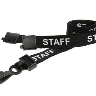 15mm Staff Lanyards with Breakaway & Plastic Clip (Black)