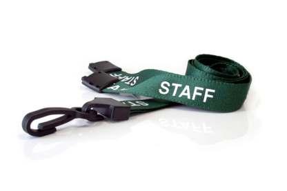15mm Staff Lanyards with Breakaway & Plastic Clip (Dark Green)