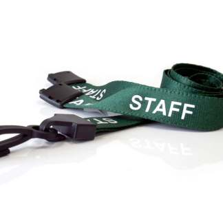 15mm Staff Lanyards with Breakaway & Plastic Clip (Dark Green)