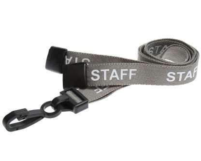 15mm Staff Lanyards with Breakaway & Plastic Clip (Grey)