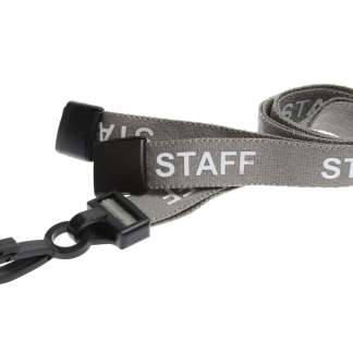 15mm Staff Lanyards with Breakaway & Plastic Clip (Grey)