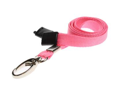 10mm Lanyard with Safety Breakaway & Metal Lobster Clip (Pink)