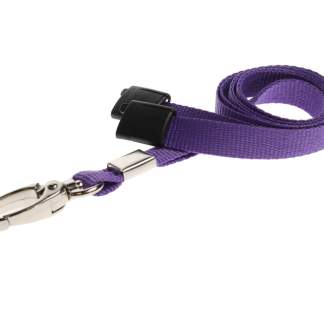 10mm Lanyard with Safety Breakaway & Metal Lobster Clip (Purple)
