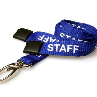 15mm Staff Lanyards with Breakaway & Metal Lobster Clip (Royal Blue)