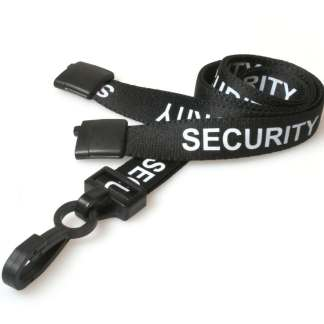 Black Security Lanyard with Plastic Clip & Safety Breakaway