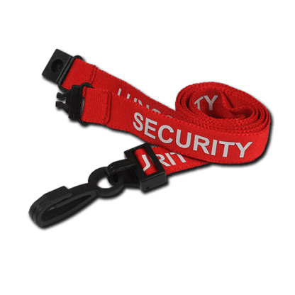 Red Security Lanyard with Plastic Clip & Safety Breakaway