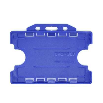 Double / Dual Sided Rigid Plastic ID Holders (Horizontal / Landscape) (Navy Blue)