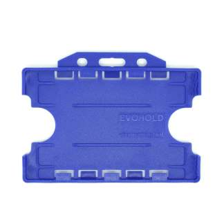 Double / Dual Sided Rigid Plastic ID Holders (Horizontal / Landscape) (Navy Blue)
