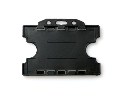 Double / Dual Sided Rigid Plastic ID Holders (Horizontal / Landscape) (Black)