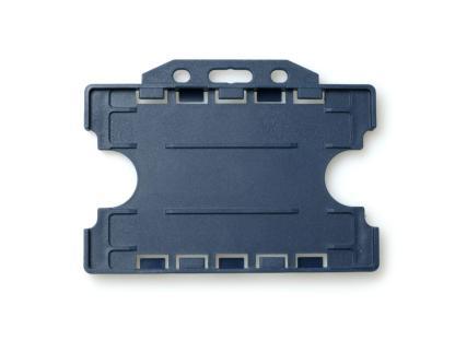 Double / Dual Sided Rigid Plastic ID Holders (Horizontal / Landscape) (Dark Blue)
