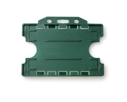 Double / Dual Sided Rigid Plastic ID Holders (Horizontal / Landscape) (Dark Green)
