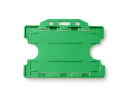 Double / Dual Sided Rigid Plastic ID Holders (Horizontal / Landscape) (Light Green)