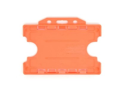 Double / Dual Sided Rigid Plastic ID Holders (Horizontal / Landscape) (Orange)