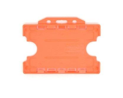 Double / Dual Sided Rigid Plastic ID Holders (Horizontal / Landscape) (Orange)