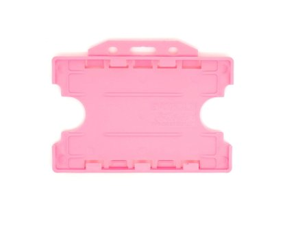 Double / Dual Sided Rigid Plastic ID Holders (Horizontal / Landscape) (Pink)