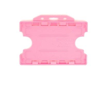 Double / Dual Sided Rigid Plastic ID Holders (Horizontal / Landscape) (Pink)
