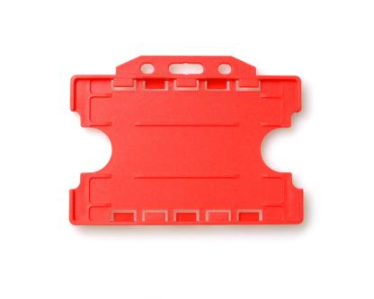 Double / Dual Sided Rigid Plastic ID Holders (Horizontal / Landscape) (Red)