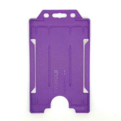 Sided Rigid Plastic ID Holder (Vertical / Portrait) (Purple)