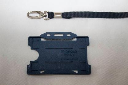 Black 10mm Lanyard with Dark Blue Single Sided Card Holder
