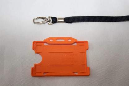 Black 10mm Lanyard with Orange Single Sided Card Holder
