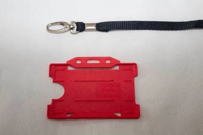 Black 10mm Lanyard with Red Single Sided Card Holder
