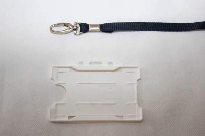 Black 10mm Lanyard with White Single Sided Card Holder
