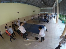 Table tennis in the gym