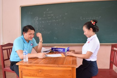 Project coordinator Saythong Insarn of the LGTC during the interviews for the apprenticeship placements at the secondary school Ban Phang Heng