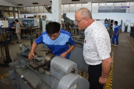 Bernhard Fuerst, vocational teacher from Bogen, Germany, shares his expertise with students at the LGTC