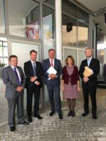 After the visit: Prof. Bauer, Lars Engel, Christian Engel, Prof. Martin, Johannes Zeck