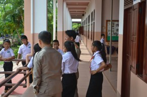 Souvanh Navong and the director Mr. Khampheng Boun Tha Lavong have a chat with their pupils