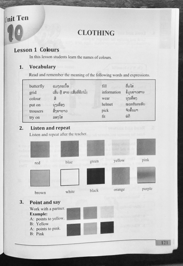 "Lao English textbook for secondary school, grade 1, topic ""colours"""