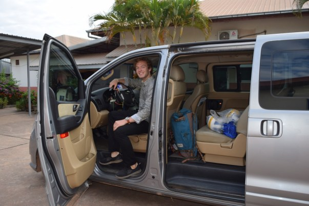 8.00: Ready to go to Vientiane - Johannes Zeck gets into the car