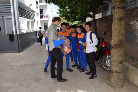 10.30: Handing over the Sepak Takraw balls and the sponsored volleyballs from BHS Shanghai
